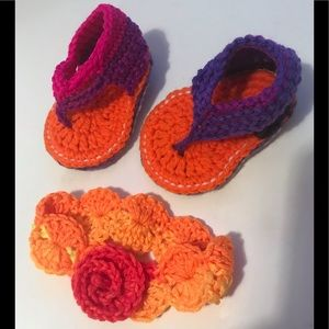 Other - HAND CROCHETED BABY SANDALS/HEADBAND MULTICOLOR